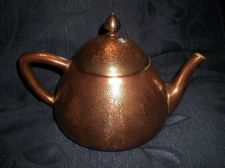 ANTIQUE TEAPOT ART NOUVEAU REPOUSSE COPPER OUTER WHITE CHINA INNER + BRASS BASE